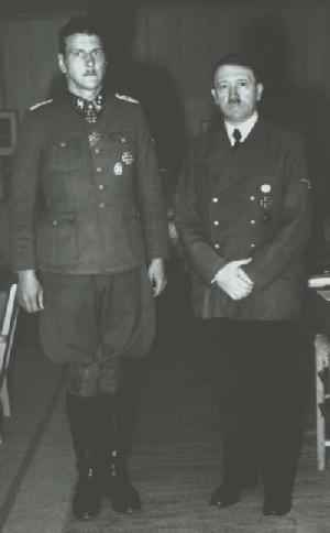 The unmistakable Otto Skorzeny with Adolph Hitler