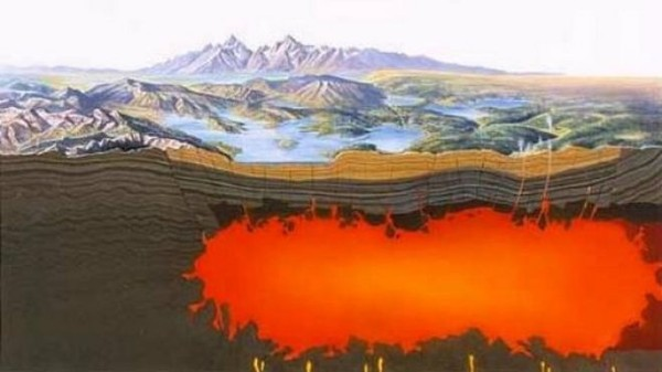 According to Jamie Farrell, the lead author in a University of Utah scientific study of Yellowstone National Park's super volcano, the magma inside the volcanic caldera is 2.5 times larger than previously believed and spans a distance of 55 miles. A caldera is a volcano covered by land and which is shaped like a cauldron.