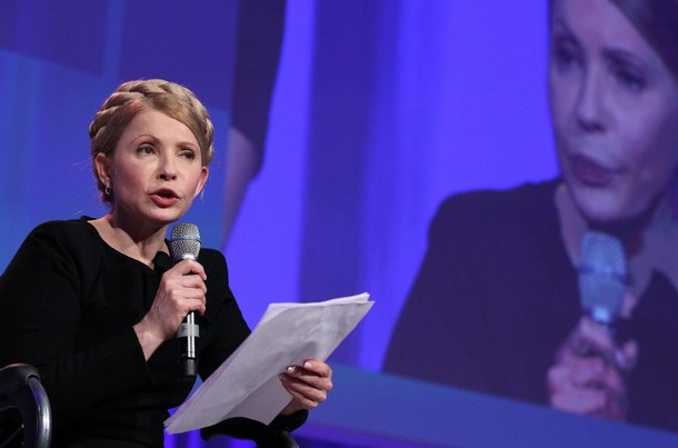 Yulia Tymoshenko, leader of Ukraine's Batkivshchyna Party, is shown on March 6 addressing the media during a press conference at the European People's Party Congress at the Dublin Convention Centre in Dublin, Ireland.