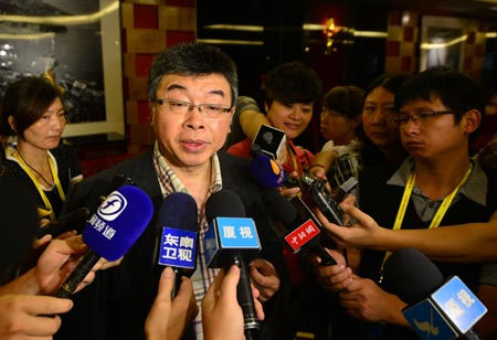 Former KMT legislator Chiu Yi fields questions from reporters in the Chinese coastal city of Xiamen on Sept. 7, 2013. (Photo/CNS)
