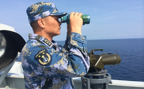 Captain Liu Zhonghu aboard Chinese navy ship Jinggangshan in the Indian Ocean on Thursday. Photo: Xinhua