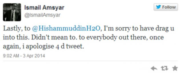 He apologised to Mr Hussein, who has since deleted the tweet and not commented on the incident