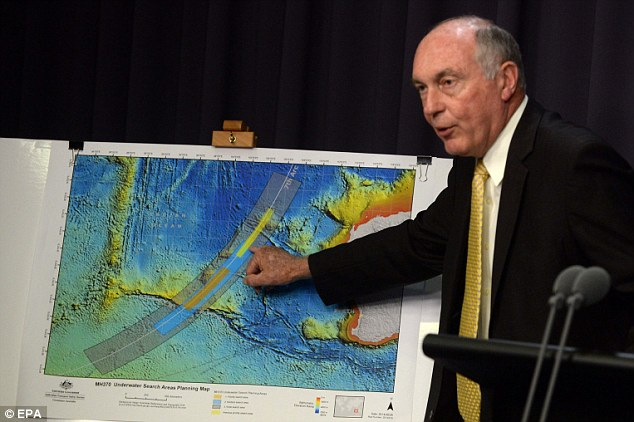 Deputy Prime Minister Wayne Truss confirms flight MH370 was on autopilot and may have run out of fuel earlier than previously thought as search area (pictured) moves further south