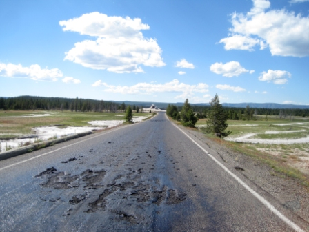 Firehole Lake Drive, superheated by surrounding thermals. NPS Photo