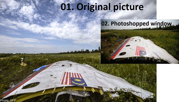 original and photoshoped mh17 mh370