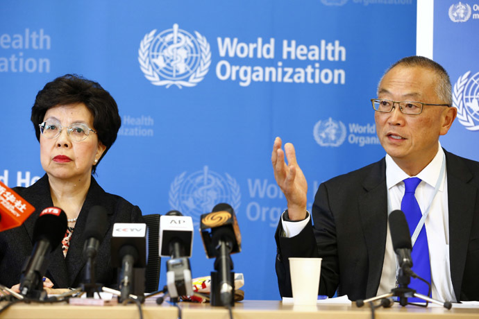 World Health Organization (WHO) Director-General Margaret Chan (L) sits next to Keiji Fukuda, WHO's assistant director general for health security, as he addresses the media after a two-day meeting of its emergency committee on Ebola, in Geneva August 8, 2014. (Reuters/Pierre Albouy)